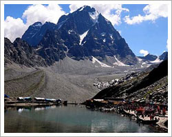 Manimahesh Kailash lake, at the distance of 26 km from Bharmour, 13km by motorable road and 13 km by trek